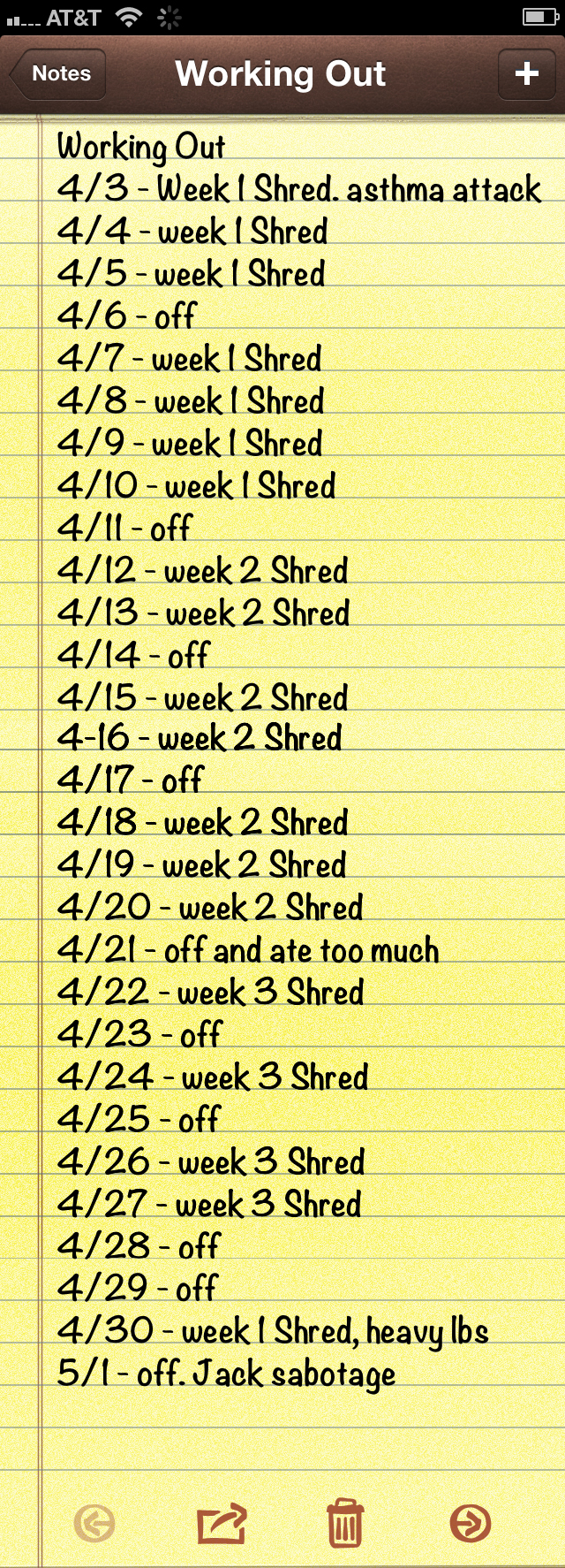shred workout progress