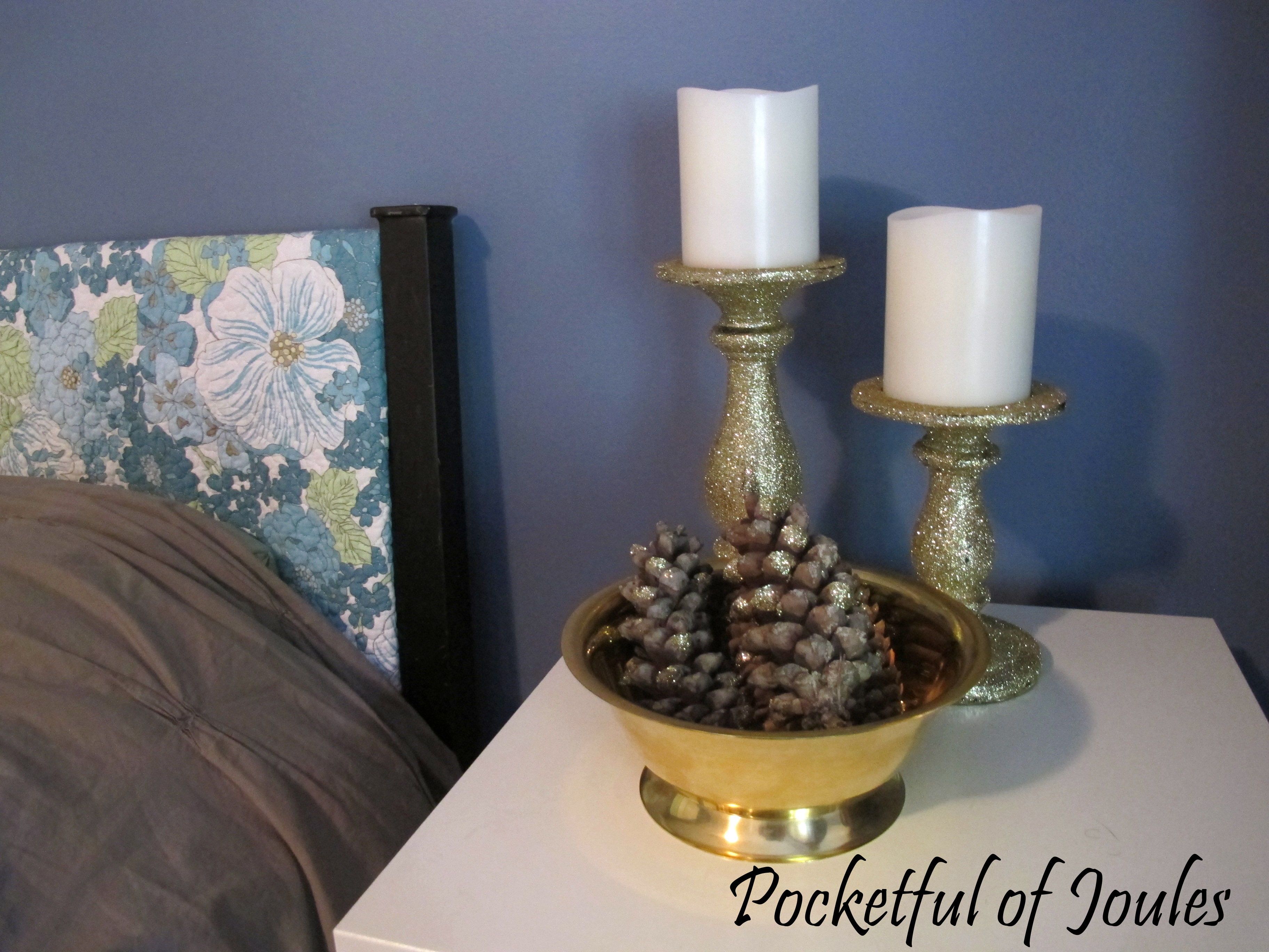 glitter candlesticks and pinecones