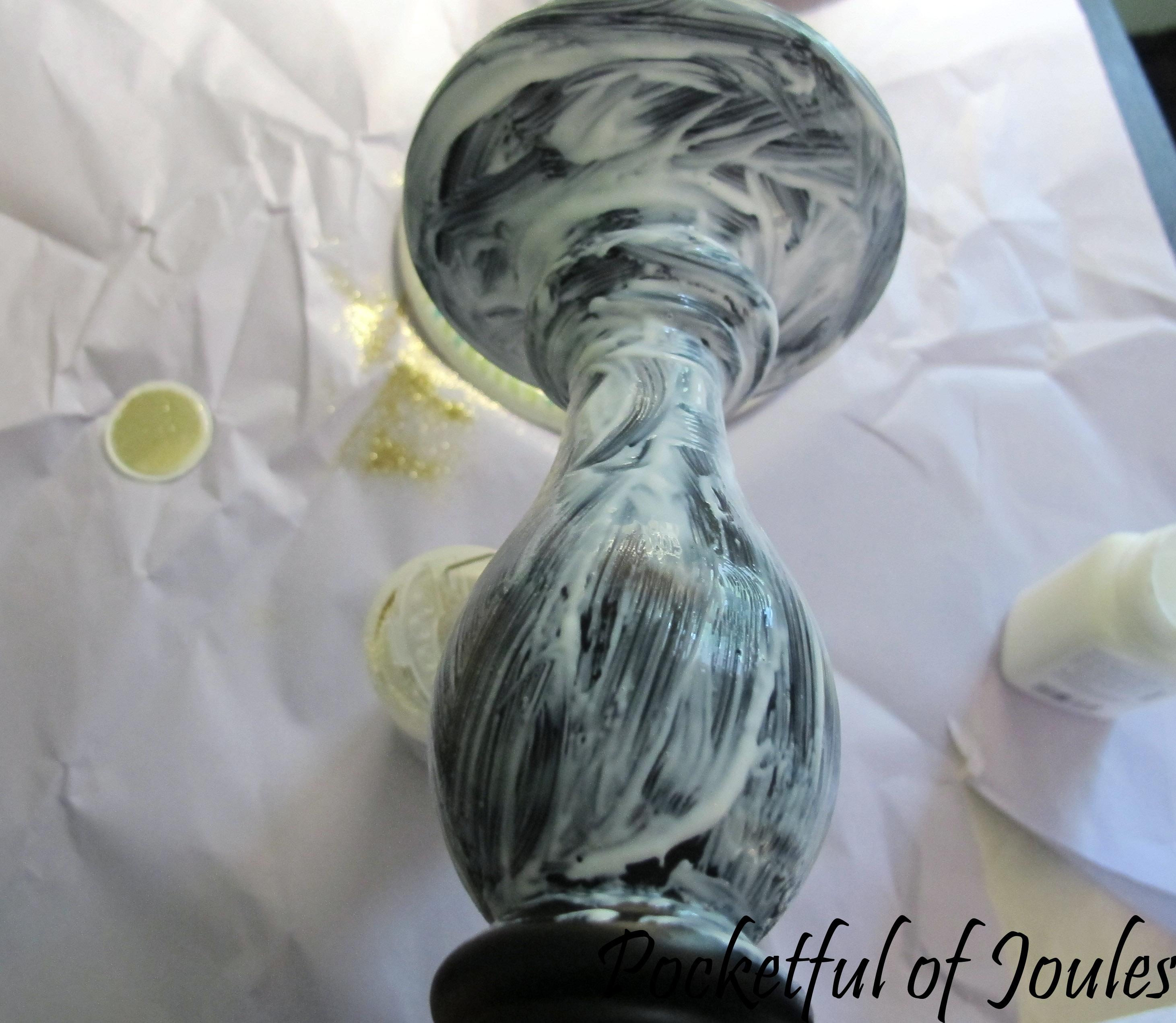 glitter candlesticks - cover in glue